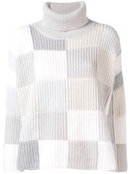 Cruciani Checked Turtleneck Jumper Grey