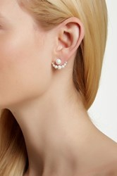18K White Gold Plated Sterling Silver Shell Pearl Ear Jackets