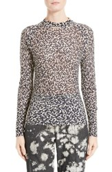 Victor Alfaro Women's Silk And Cashmere Animal Print Mesh Top