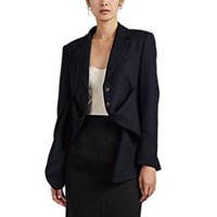 Cedric Charlier Virgin Wool Gathered Asymmetric Blazer Navy