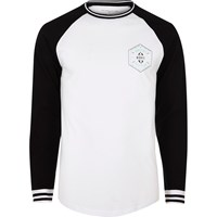 River Island Mens White And Black Chest Print Baseball Top