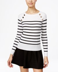 Xoxo Juniors' Embellished Striped Sweater Black Ivory