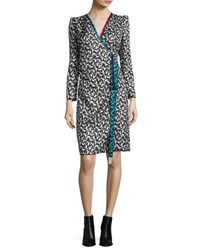 Marc Jacobs Printed Long Sleeve Wrap Dress White