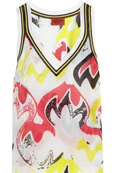 Missoni Printed Crochet Knit Cotton Blend Tank White