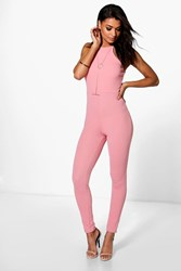Boohoo Textured Crepe Strappy Jumpsuit Dusky Pink