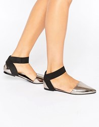 Asos Lorelle Pointed Ballet Flats Pewter Silver