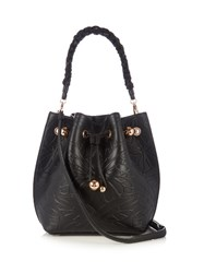 Sophia Webster Romy Butterfly Embossed Leather Bucket Bag Black