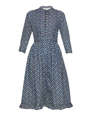 Visvim Frills Polka Dot Cotton And Linen Blend Dress