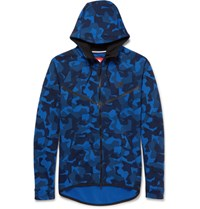 Nike Lim Fit Camouflage Print Cotton Blend Tech Fleece Hoodie Blue