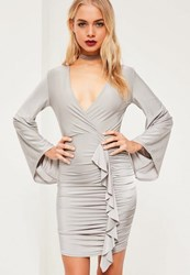 Missguided Grey Slinky Wide Sleeve Frill Bodycon Dress