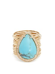 Jacquie Aiche Diamond Turquoise And Yellow Gold Ring Blue