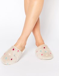 Daisy Street Polka Dot Slippers Cream