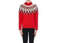 Saint Laurent Men's Sequin Embellished Fair Isle Sweater No Color