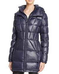 Calvin Klein Long Hooded Down Coat Navy