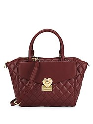 Love Moschino Quilted Zippered Satchel Dark Red