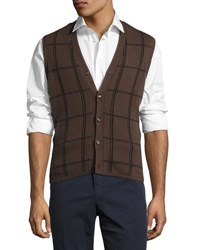 Luciano Barbera Cashmere Blend Plaid Sweater Vest Brown