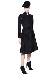 Giorgio Armani Belted Faux Suede Effect Jersey Coat Black