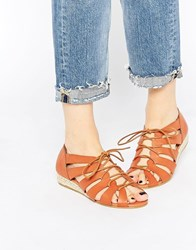 Truffle Collection Debs Gladiator Flat Sandals Tan