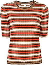Veronica Beard Striped Ribbed Top Multicolour