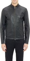 Theory Perforated Leather Jacket Black