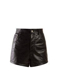 Saint Laurent High Rise Leather Shorts Black