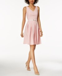 Nine West Belted Striped Seersucker Fit And Flare Dress Coral Lily