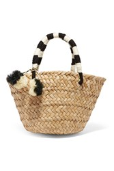 Kayu St Tropez Mini Pompom Embellished Woven Seagrass Tote Beige