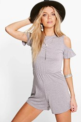 Boohoo Open Ruffle Shoulder Playsuit Grey Marl