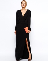 Love Plunge Wrap Front Maxi Dress With Thigh Split