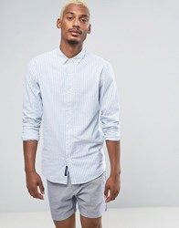 Pull And Bear Regular Fit Oxford Shirt In Blue White Stripes Blue