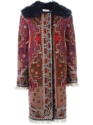 Tory Burch Lamb Fur Collar Tapestry Coat Red