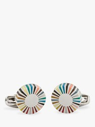 Paul Smith Multicoloured Stripe Edge Circular Cufflinks Multi