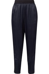 By Malene Birger Ietos Grosgrain Trimmed Satin Tapered Pants Navy