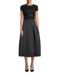 Emporio Armani Cap Sleeve Fit And Flare Cocktail Dress W Embellished Top And Neoprene Skirt Black