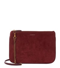 Sandro Addict Suede Cross Body Bag Female Red