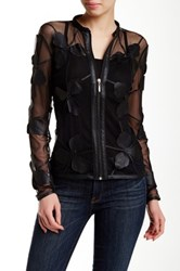 Dolce Cabo Pleather Flower Zip Jacket Black