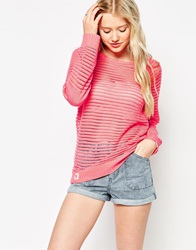 Bellfield Open Knit Ribbed Jumper Coral