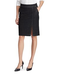 Ralph Lauren Denim Slit Pencil Skirt Asphalt