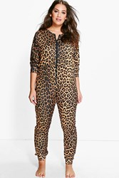 Boohoo Plus Hannah Leopard Print One Piece Multi