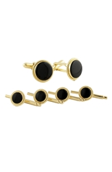 David Donahue Onyx Cuff Link And Stud Set 14K Gold Oynx