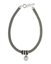 Majorica Storm Leather And Pearl Pendant Necklace Gray