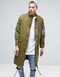 Heros Heroine Military Jacket With Patching Khaki Green