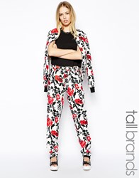 Girls On Film Tall Floral Print Trouser Red