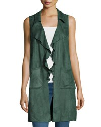Moon River Sleeveless Faux Suede Long Vest Hunter