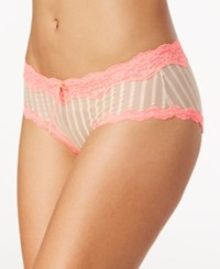 Heidi Klum By Mesh And Lace Striped Hipster H308 1168B Only At Macy's Toasted Almond Neon Flamingo