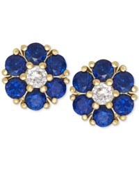 Macy's Blue Sapphire 1 1 5 Ct. T.W. And White Sapphire 1 6 Ct. T.W. Flower Stud Earrings In 14K Gold Yellow Gold