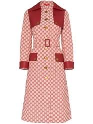 Gucci Gg Print Canvas Trench Coat Red