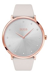 Boss Jillian Ultra Slim Leather Strap Watch 40Mm