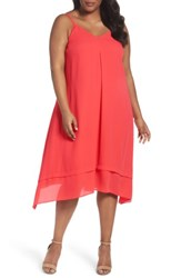 Sejour Plus Size Women's Tiered Shark Bite Hem Slipdress Red Hibiscus