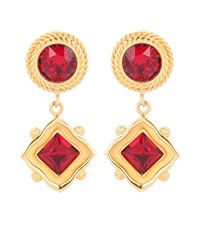 Dolce And Gabbana Crystal Embellished Clip On Earrings Red
